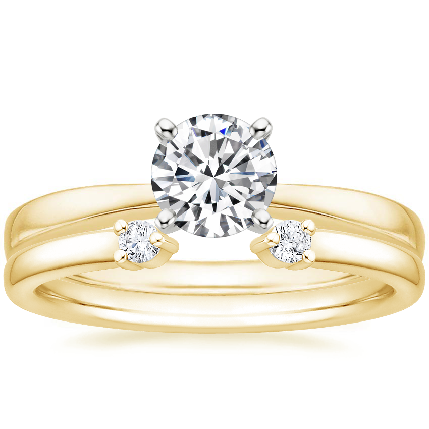18K Yellow Gold Petite Taper Ring with Wren Diamond Ring