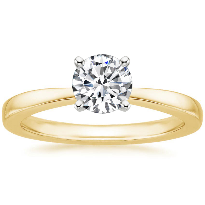 Round 18K Yellow Gold Petite Taper Ring