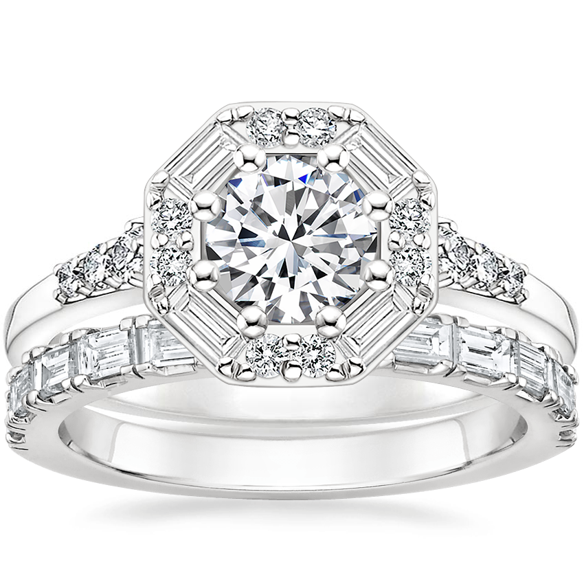 18K White Gold Octavia Diamond Ring (1/3 ct. tw.) with Gemma Diamond Ring (1/2 ct. tw.)