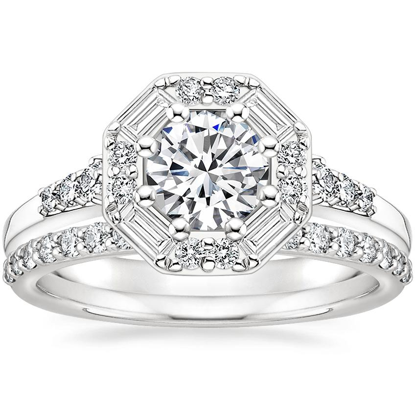 18K White Gold Octavia Diamond Ring with Petite Shared Prong Diamond Ring (1/4 ct. tw.)