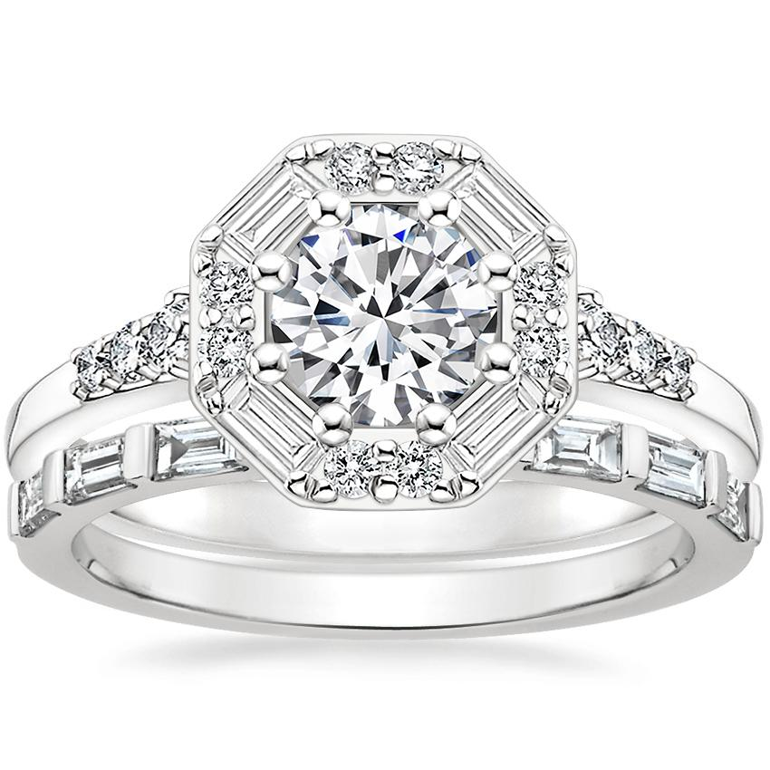 18K White Gold Octavia Diamond Ring (1/3 ct. tw.) with Barre Diamond Ring (1/4 ct. tw.)