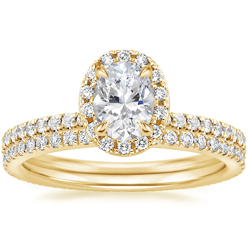18K Yellow Gold Waverly Diamond Ring (1/2 ct. tw.) with Ballad Eternity Diamond Ring (1/3 ct. tw.)