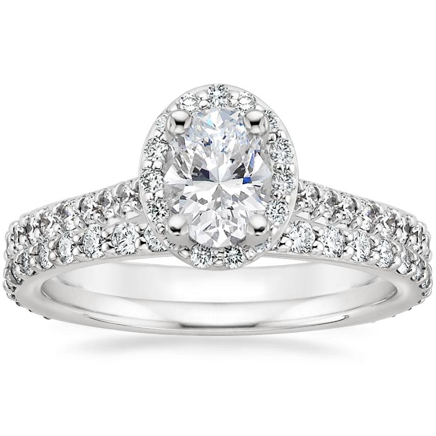18K White Gold Fancy Halo Diamond Ring with Side Stones (2/5 ct. tw.) with Luxe Petite Shared Prong Diamond Ring (3/8 ct. tw.)