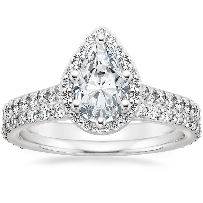 Platinum Fancy Halo Diamond Ring with Side Stones (2/5 ct. tw.) with Luxe Petite Shared Prong Diamond Ring (3/8 ct. tw.)