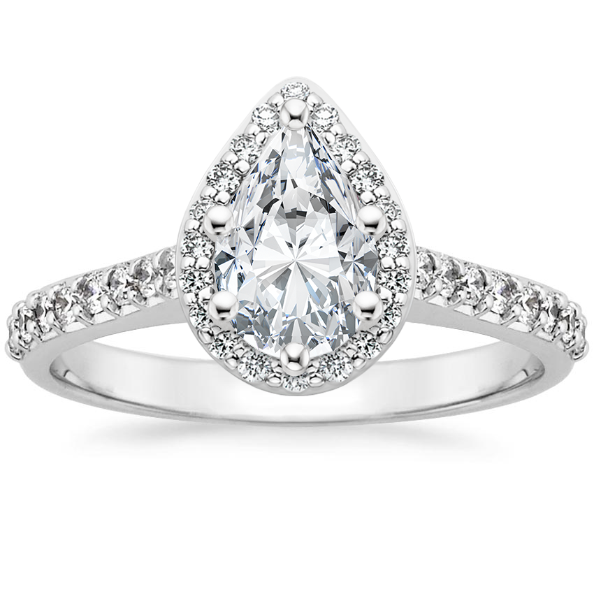 Pear 18K White Gold Fancy Halo Diamond Ring with Side Stones (1/3 ct. tw.)