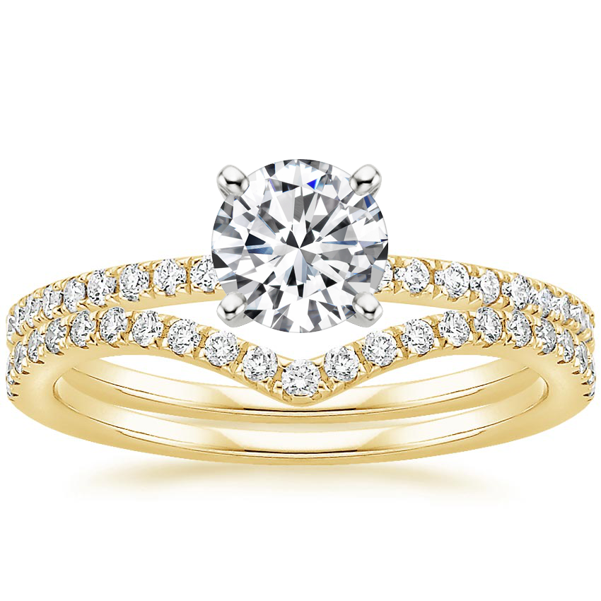 18K Yellow Gold Ballad Diamond Ring (1/8 ct. tw.) with Flair Diamond Ring (1/6 ct. tw.)