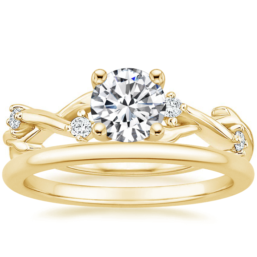18K Yellow Gold Liana Diamond Ring with Petite Comfort Fit Wedding Ring