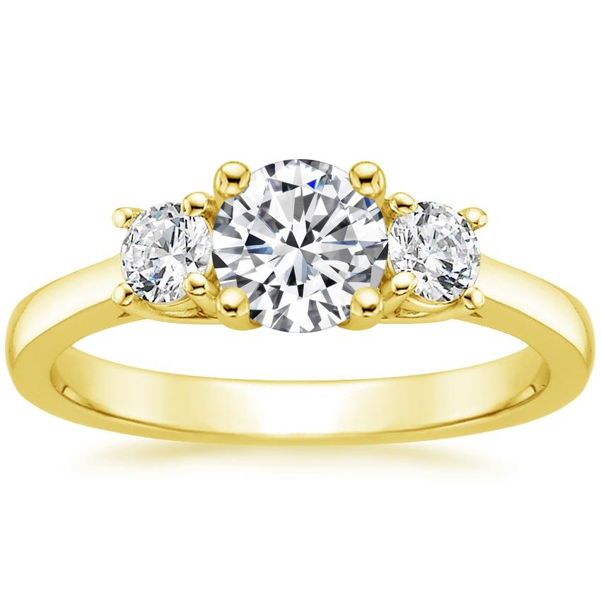 Round 18K Yellow Gold Petite Three Stone Trellis Diamond Ring (1/3 ct. tw.)
