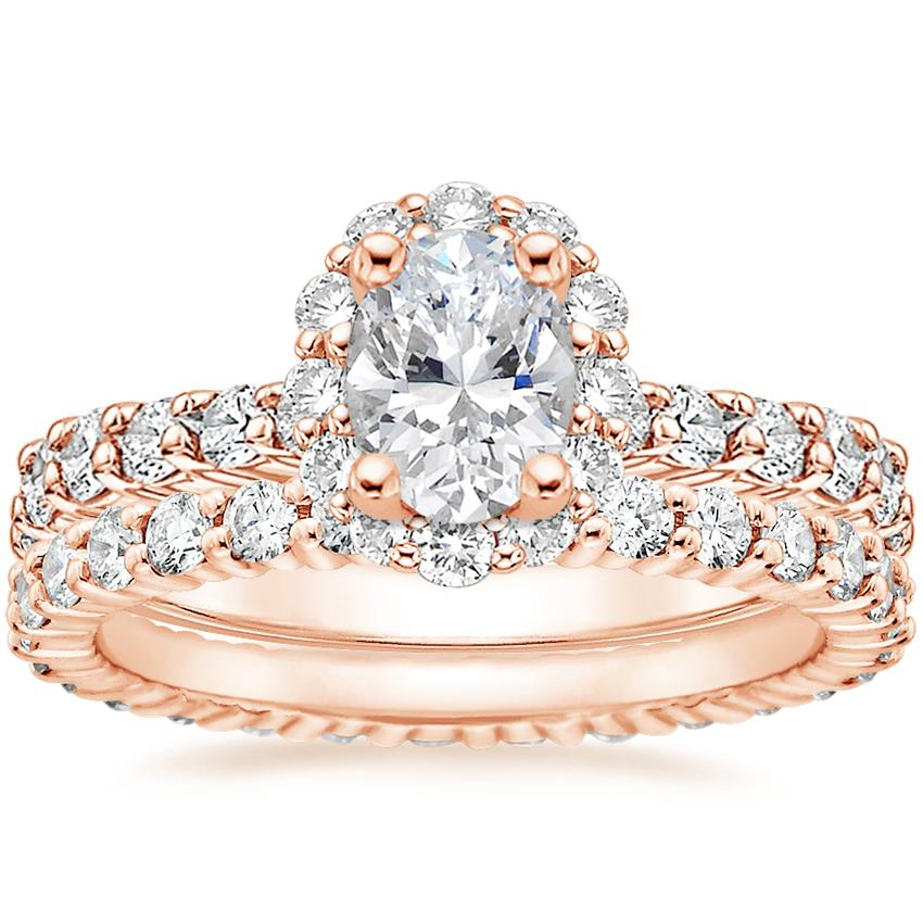 14K Rose Gold Lotus Flower Diamond Ring with Side Stones with Shared Prong Eternity Diamond Ring (7/8 ct. tw.)
