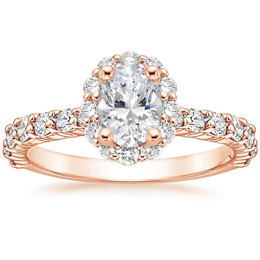 Oval 14K Rose Gold Lotus Flower Diamond Ring with Side Stones (3/4 ct. tw.)