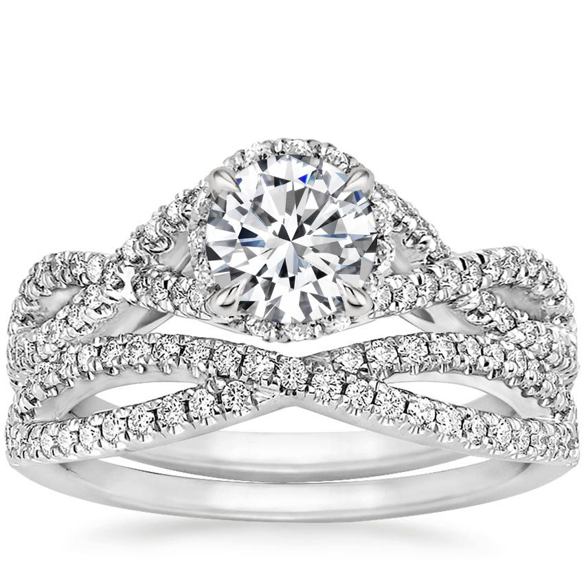 18K White Gold Entwined Halo Diamond Bridal Set (1/2 ct. tw.)