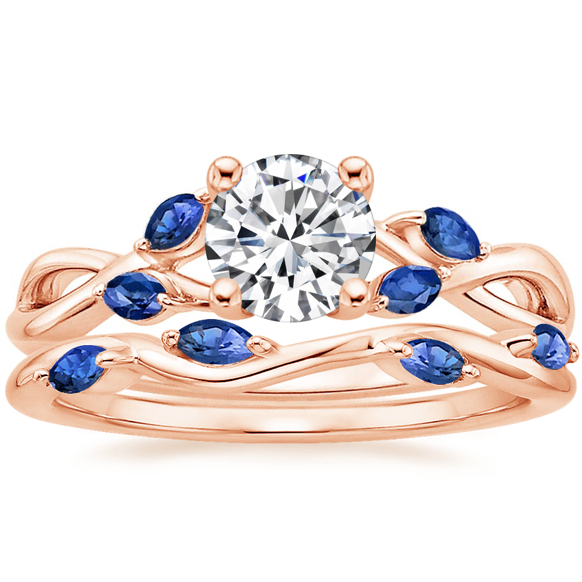 14K Rose Gold Willow Ring With Sapphire Accents with Winding Willow Sapphire Ring