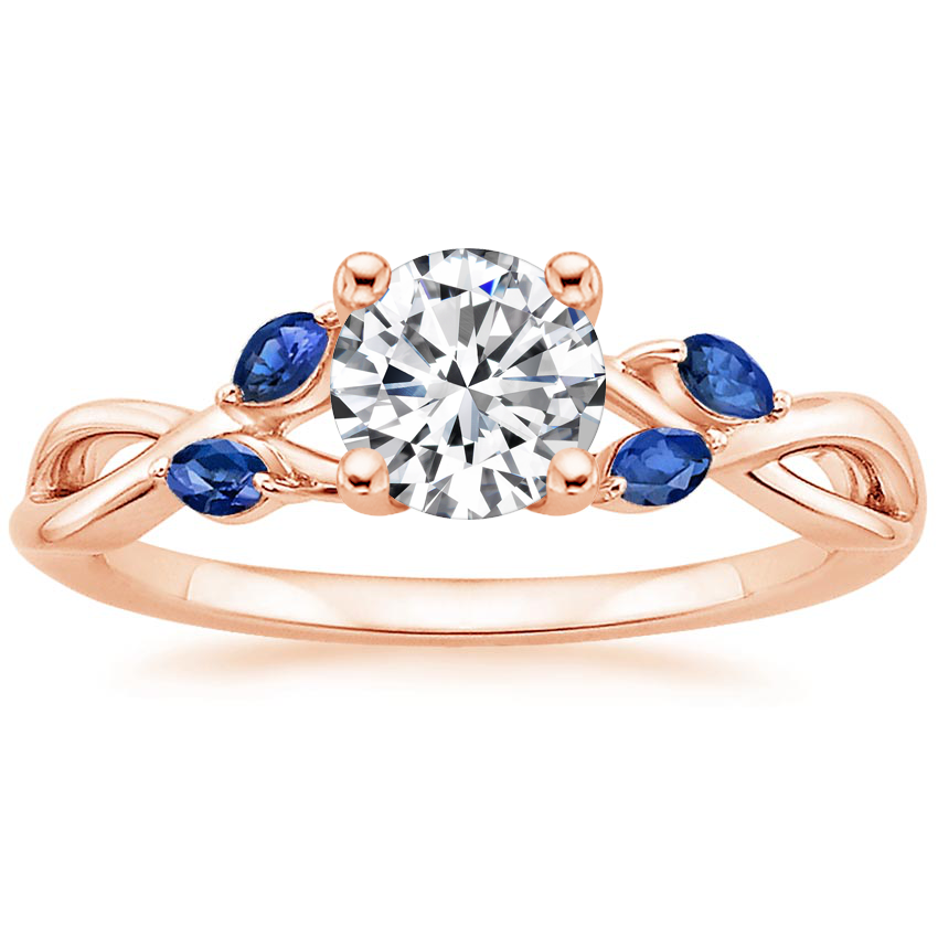Round 14K Rose Gold Willow Ring With Sapphire Accents