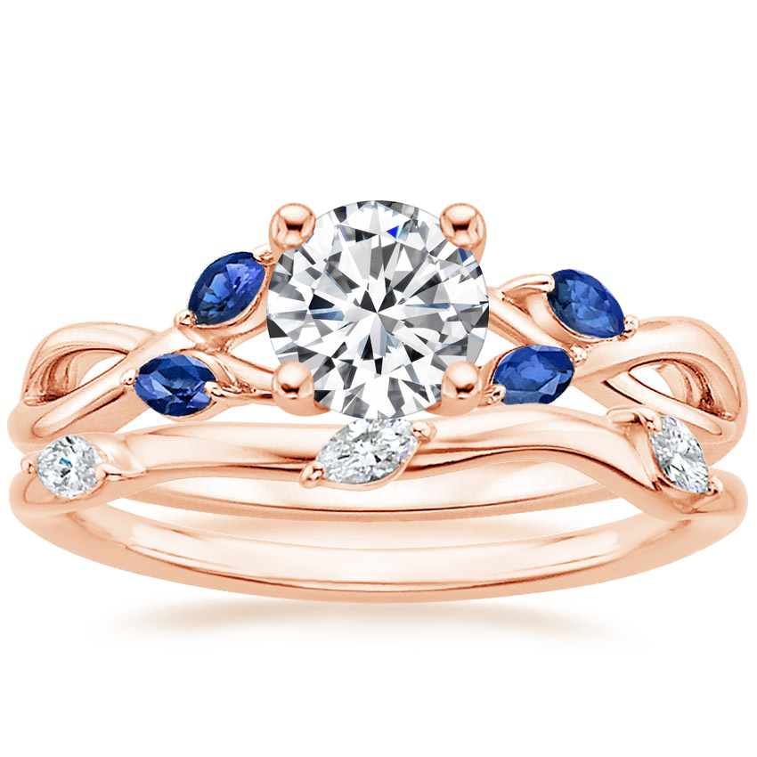 14K Rose Gold Willow Ring With Sapphire Accents with Willow Diamond Ring (1/10 ct. tw.)