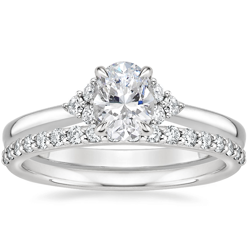 18K White Gold Melody Diamond Ring with Petite Shared Prong Diamond Ring (1/4 ct. tw.)