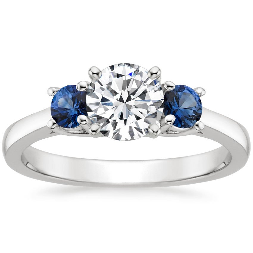 18K White Gold Three Stone Diamond and Sapphire Trellis Ring, top view