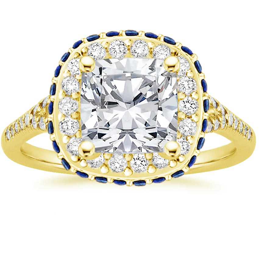Cushion 18K Yellow Gold Circa Diamond Ring with Sapphire Accents (1/3 ct. tw.)