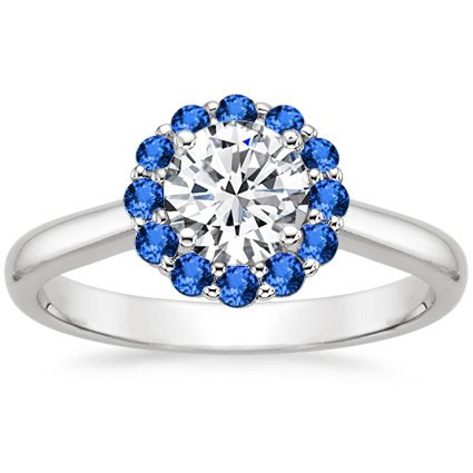 18K White Gold Lotus Flower Sapphire Ring, top view
