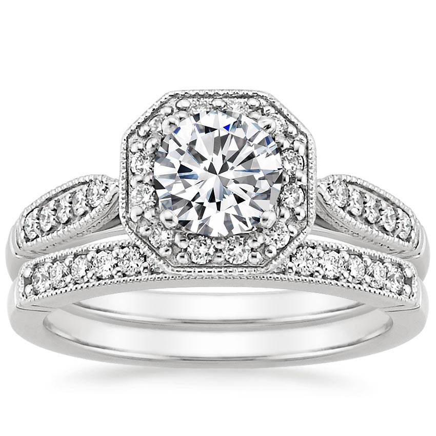 18K White Gold Victorian Halo Diamond Matched Set (1/3 ct. tw.), top view