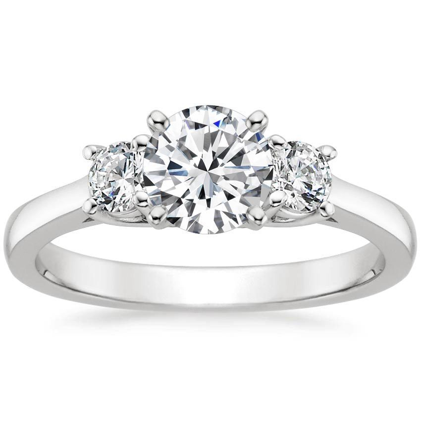 18K White Gold Petite Three Stone Trellis Ring (1/3 ct. tw.), top view