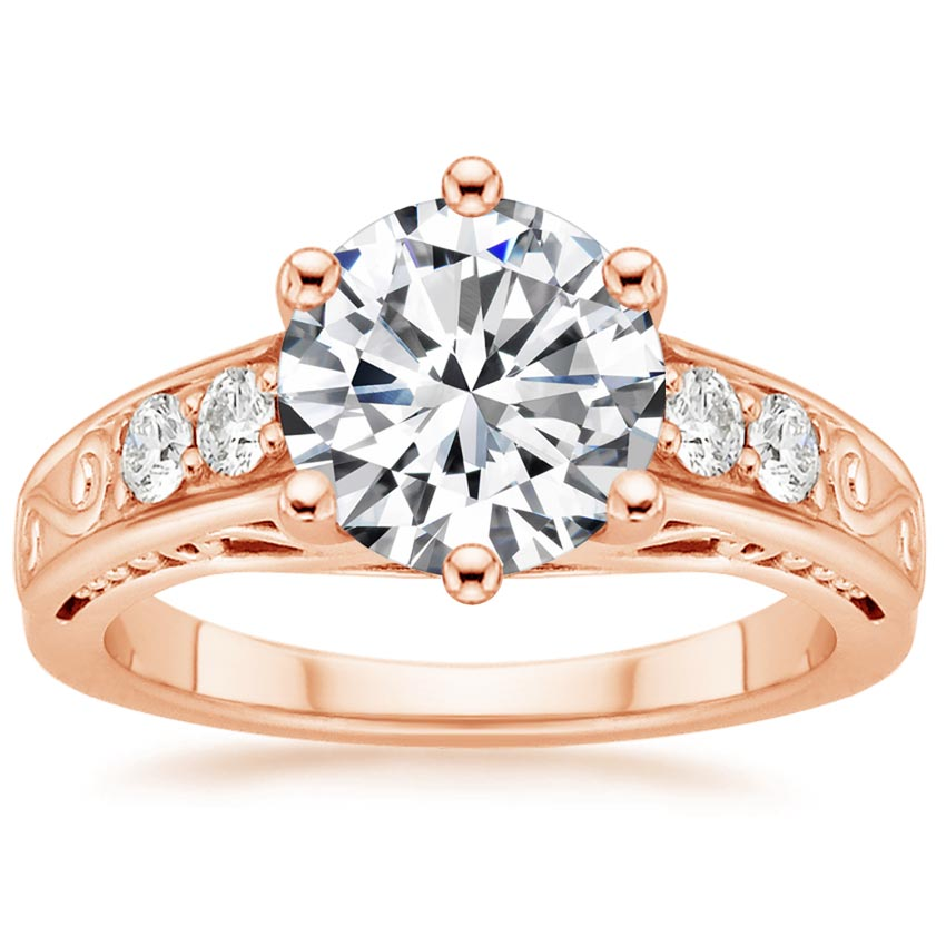 Round 14K Rose Gold Art Deco Filigree Diamond Ring (1/4 ct. tw.)