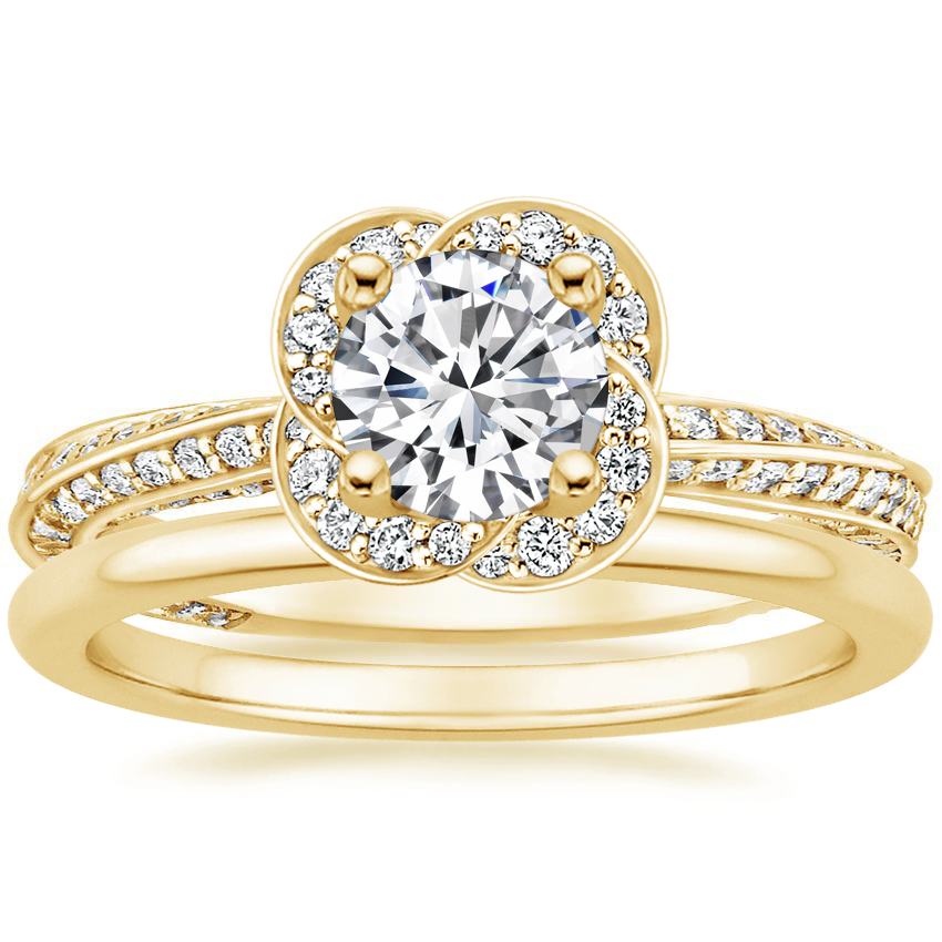 18K Yellow Gold Azalea Diamond Ring with Petite Comfort Fit Wedding Ring