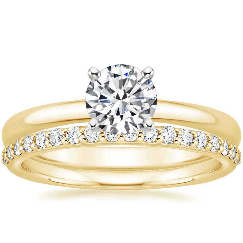 18K Yellow Gold 2mm Comfort Fit Ring with Petite Shared Prong Diamond Ring (1/4 ct. tw.)