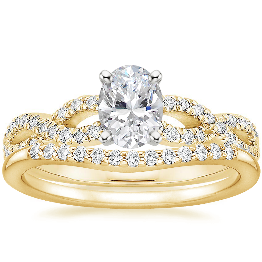 18K Yellow Gold Infinity Diamond Ring with Petite Curved Diamond Ring (1/10 ct. tw.)
