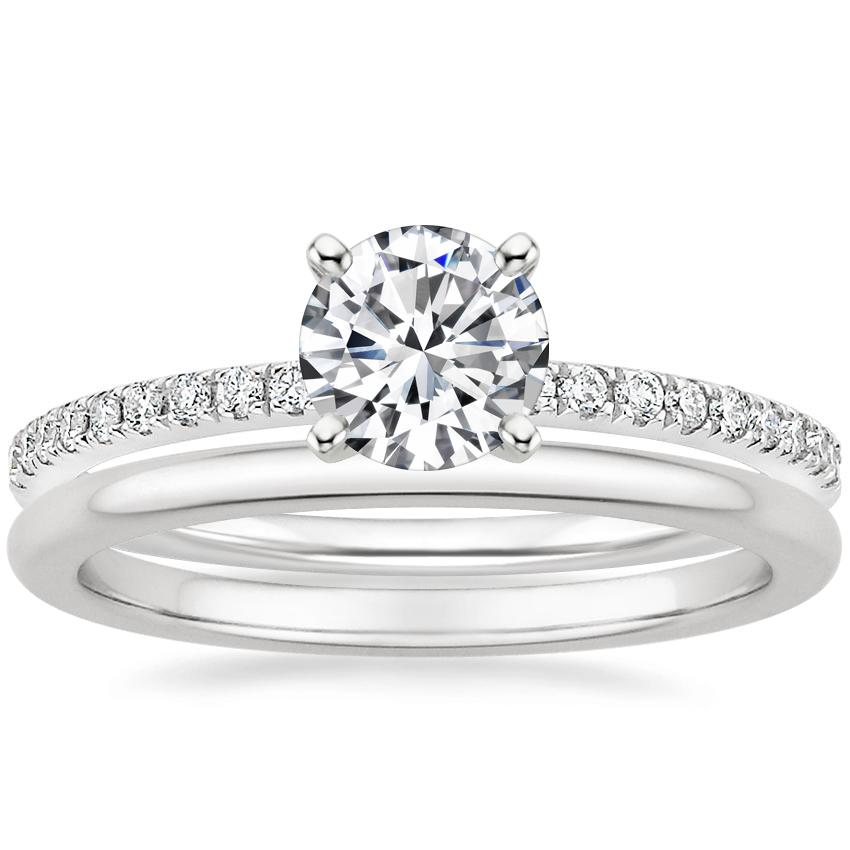 18K White Gold Ballad Diamond Ring (1/8 ct. tw.) with Petite Comfort Fit Wedding Ring