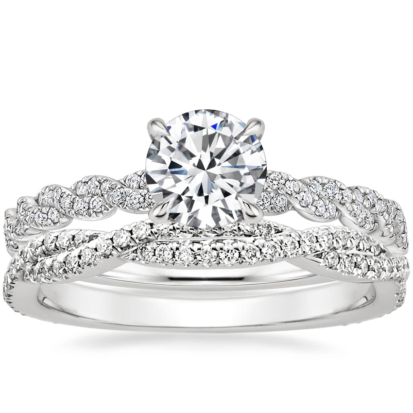 Platinum Cadence Diamond Ring with Petite Luxe Twisted Vine Diamond Ring (1/4 ct. tw.)