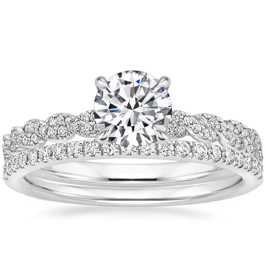 18K White Gold Cadence Diamond Ring with Ballad Diamond Ring (1/6 ct. tw.)