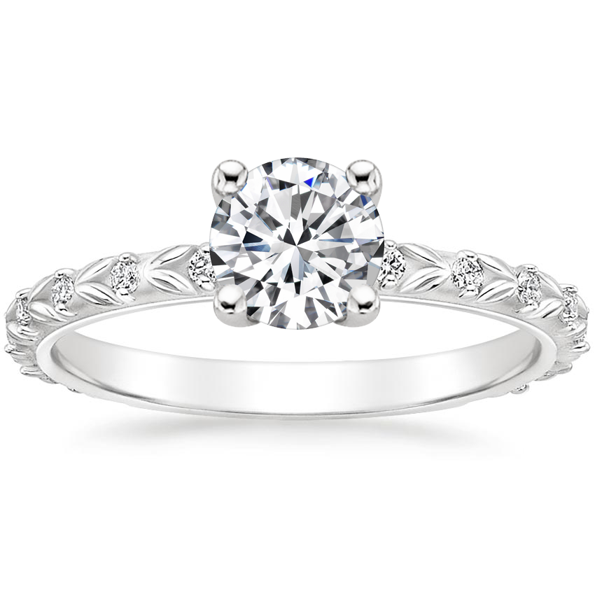 Round Sculpted Leaf Engagement Ring