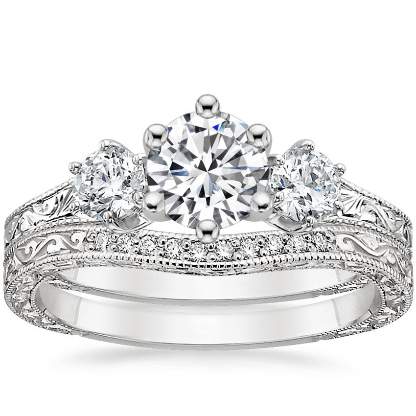 18K White Gold Three Stone Hudson Bridal Set (1/3 ct. tw.)