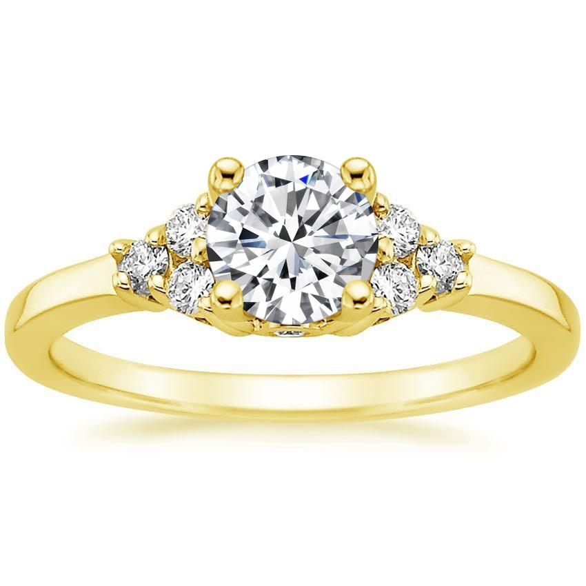 18K Yellow Gold Trio Diamond Ring, top view