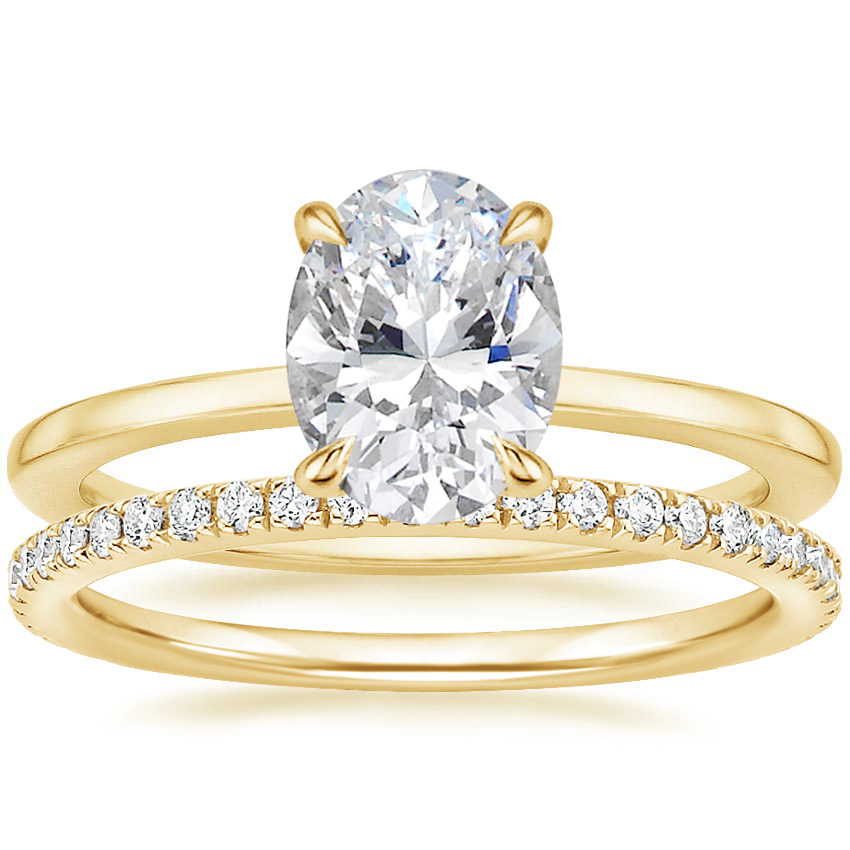 18K Yellow Gold Lumiere Diamond Ring with Luxe Ballad Diamond Ring (1/4 ct. tw.)