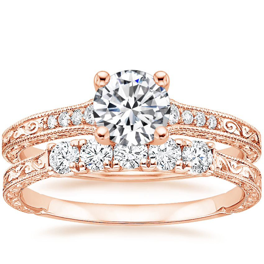 14K Rose Gold Luxe Hudson Diamond Ring with Hudson Five Stone Diamond Ring (1/4 ct. tw.)
