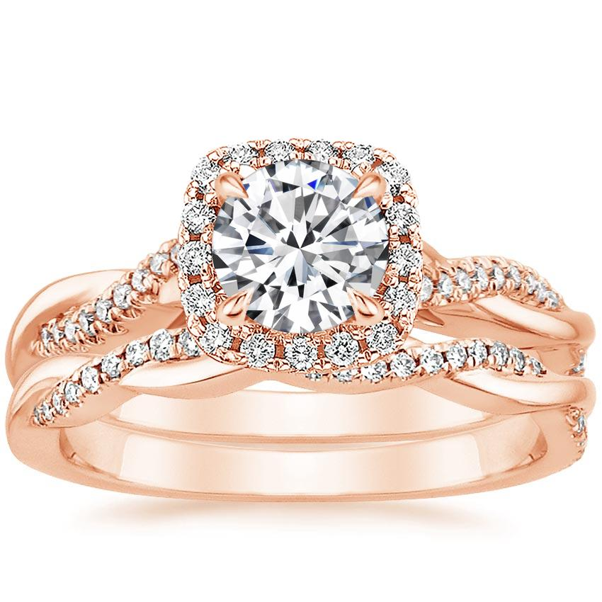 14K Rose Gold Petite Twisted Vine Halo Diamond Bridal Set (1/3 ct. tw.)