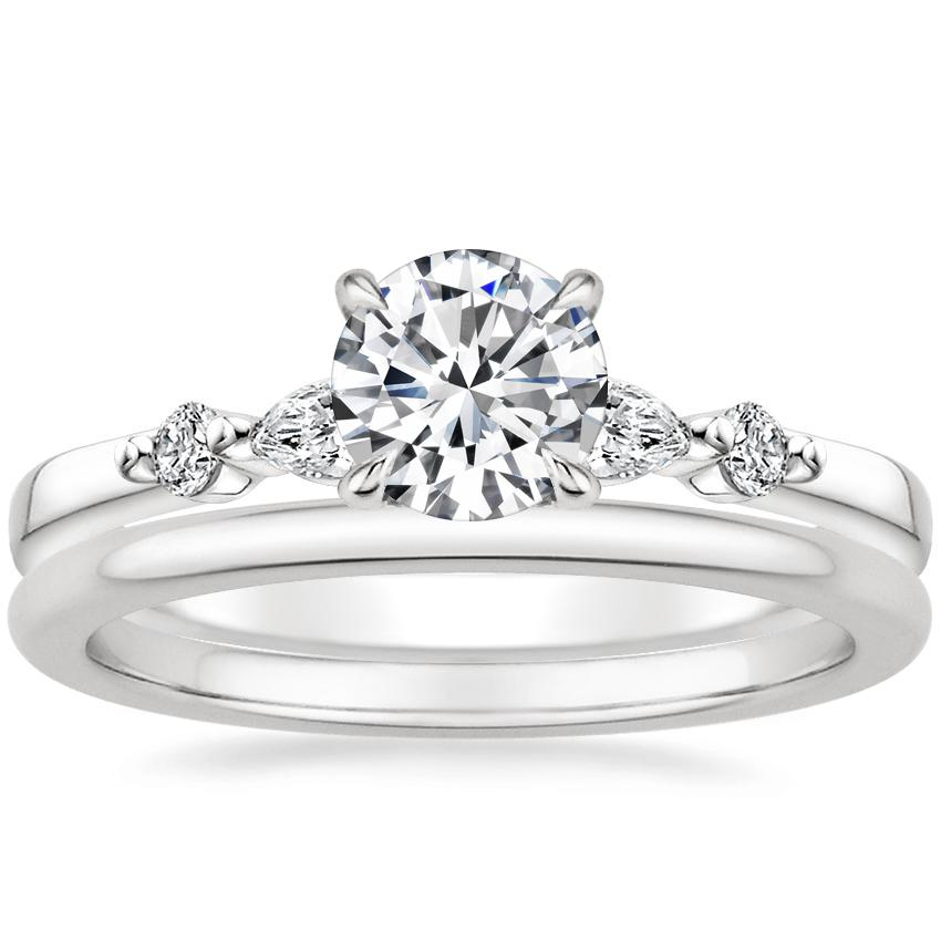 18K White Gold Petite Versailles Diamond Ring with Petite Comfort Fit Wedding Ring