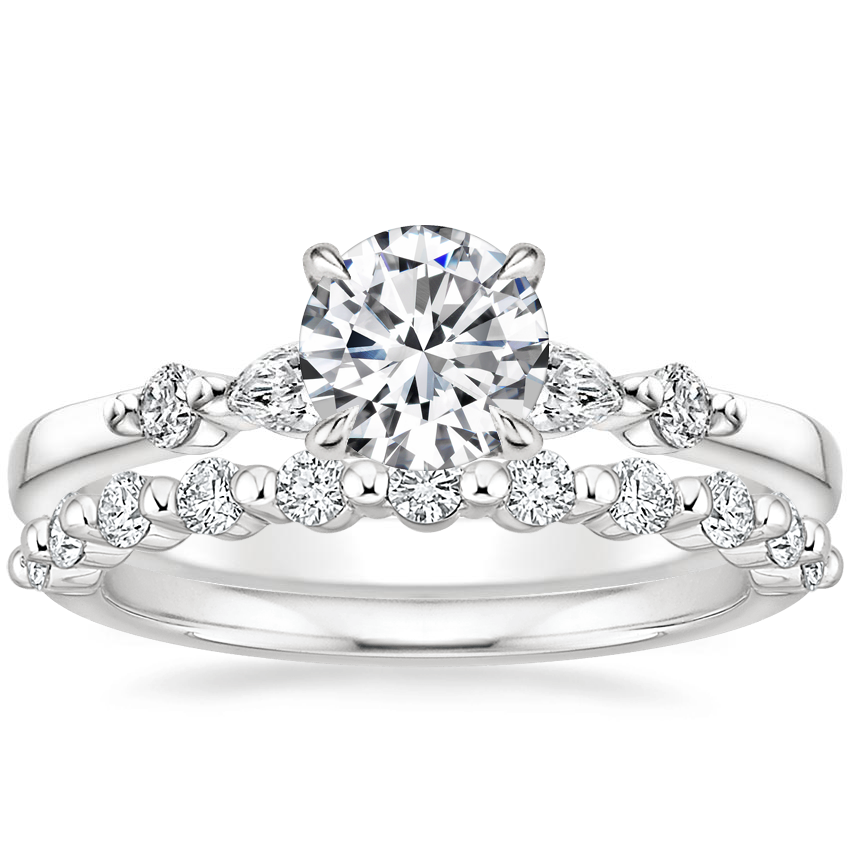 18K White Gold Petite Versailles Diamond Ring (1/6 ct. tw.) with Marseille Diamond Ring (1/3 ct. tw.)