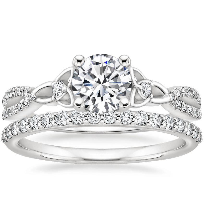 18K White Gold Luxe Entwined Celtic Love Knot Diamond Ring with Petite Shared Prong Diamond Ring (1/4 ct. tw.)