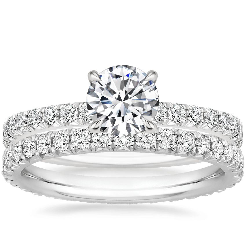 18K White Gold Amelie Diamond Ring (1/3 ct. tw.) with Amelie Eternity Diamond Ring (2/3 ct. tw.)