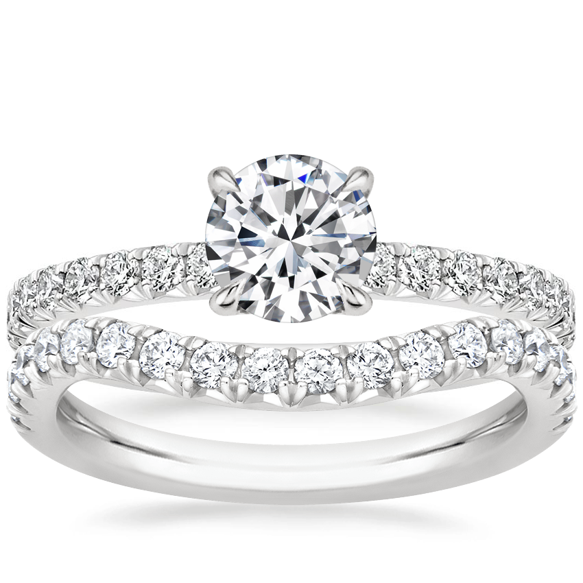 Platinum Amelie Diamond Ring (1/3 ct. tw.) with Curved Amelie Diamond Ring (1/3 ct. tw.)