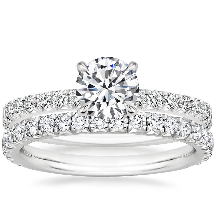 18K White Gold Amelie Diamond Ring (1/3 ct. tw.) with Luxe Amelie Diamond Ring (1/2 ct. tw.)