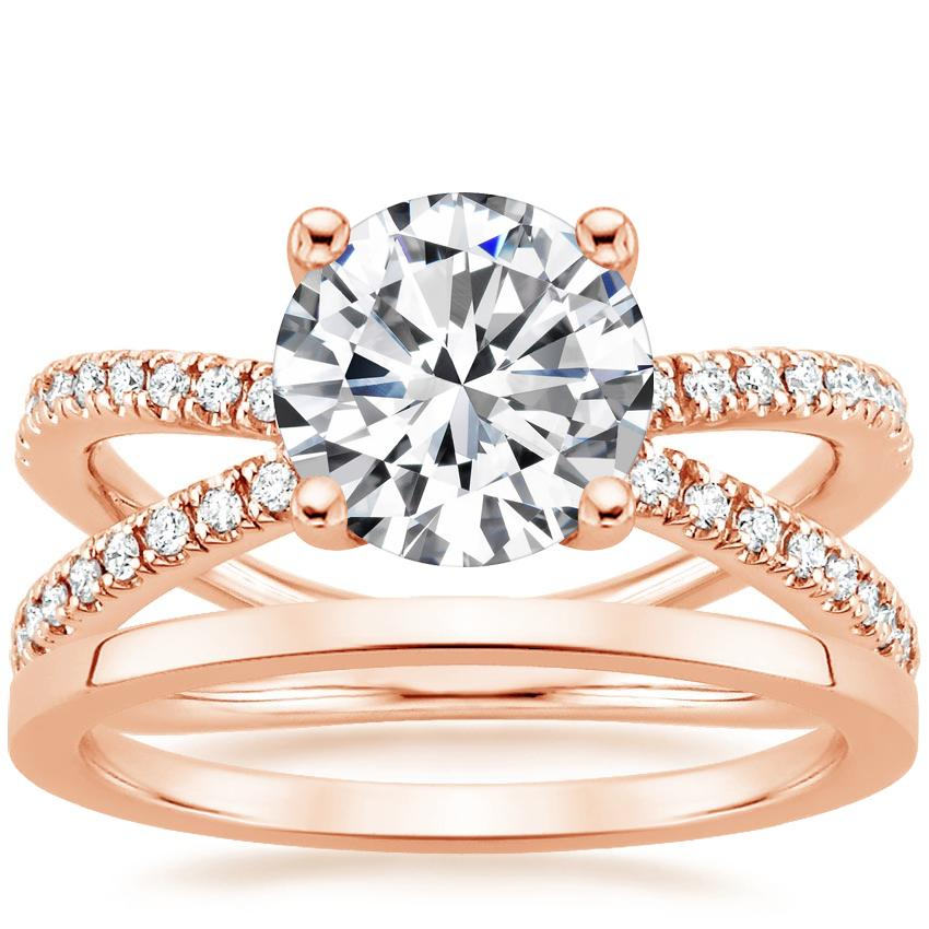 14K Rose Gold Bisou Diamond Ring (1/3 ct. tw.) with Petite Quattro Wedding Ring