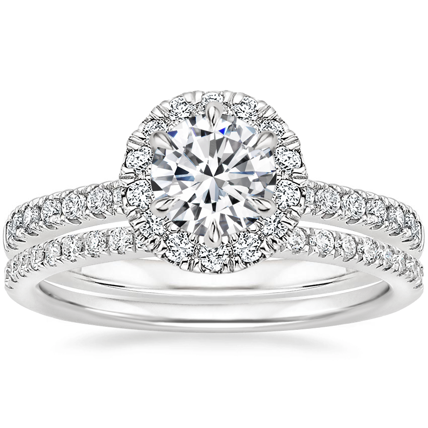 18K White Gold Poppy Halo Diamond Ring (1/3 ct. tw.) with Ballad Diamond Ring (1/6 ct. tw.)