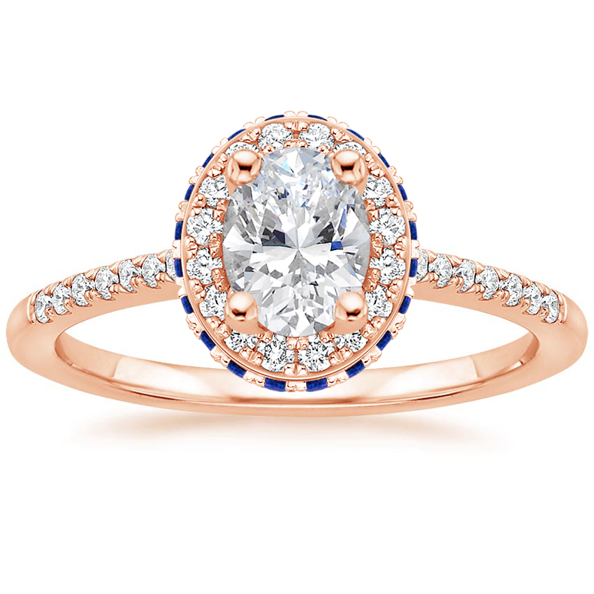 Oval 14K Rose Gold Circa Diamond Ring with Sapphire Accents (1/4 ct. tw.)