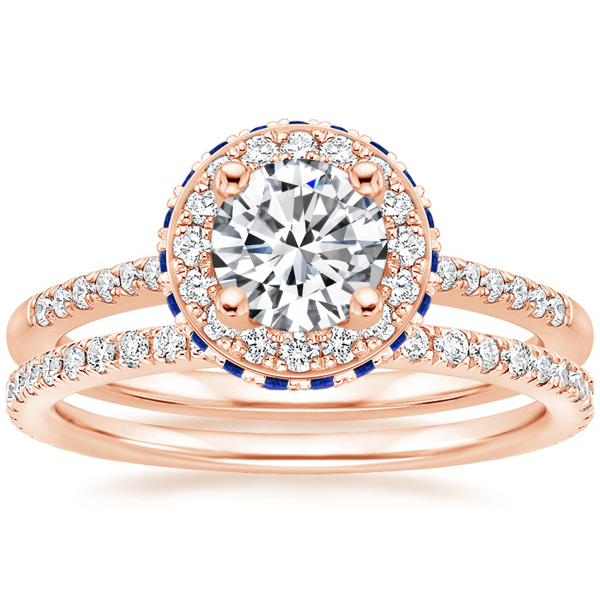 14K Rose Gold Circa Diamond Ring with Sapphire Accents (1/4 ct. tw.) with Luxe Ballad Diamond Ring (1/4 ct. tw.)