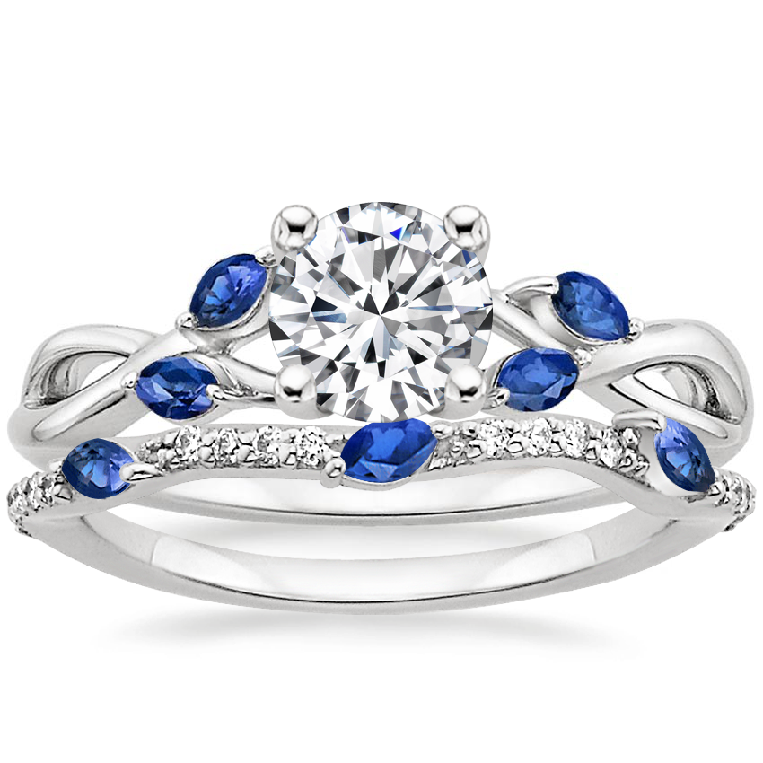18K White Gold Willow Ring With Sapphire Accents with Luxe Willow Contoured Ring with Sapphire and Diamond Accents (1/10 ct. tw.)
