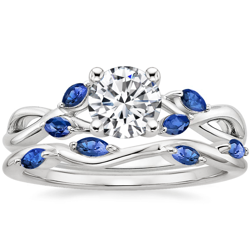 18K White Gold Willow Ring With Sapphire Accents with Winding Willow Sapphire Ring