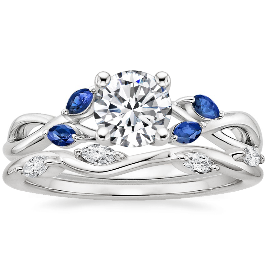 18K White Gold Willow Ring With Sapphire Accents with Winding Willow Diamond Ring (1/8 ct. tw.)